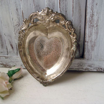 Vintage Heart Silver Tray, Godinger Silver Art Decorative Dish, Shabby Chic, Ornate Heart Shaped Bowl, Gift Ideas