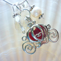 Sea Glass Necklace  Red Cinderella Locket by TheMysticMermaid