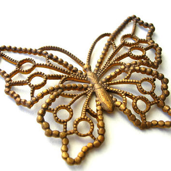 Rare Solid Brass Butterfly - Filigree Butterfly - Lacy Butterflies - Vintage Brass Butterfly - Cast Brass