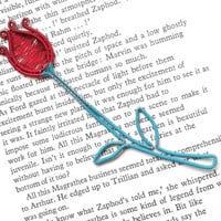 Red Flower Bookmark, Metal Bookmark, Unique Bookmarks, Wire Wrapped Mini Rose Flower Book Page Marker, Book Accessories, Planner Bookmark