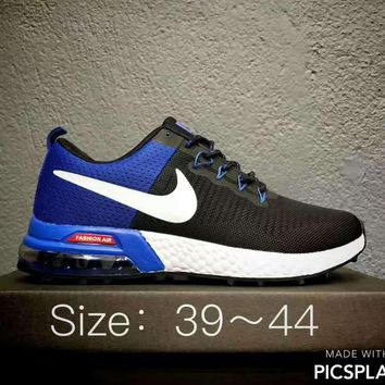 NIKE AlR MAX Running Sport Casual Shoes Sneakers Black blue-white hook H-CSXY
