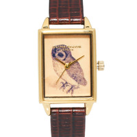 Olivia Burton Leather Strap Watch With Rectangular Owl Face