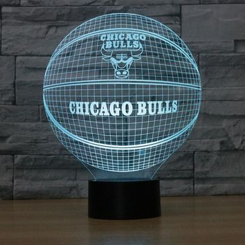 CHICAGO BULLS 3D Night Light Jordan NBA American Basketball Club Lamp USB LED Lighting Table Decor Bedside Nightlight for Child