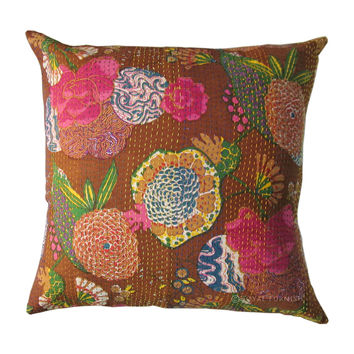 "24"" Brown Indian Kantha Decorative Sofa Throw Pillow Cushion Case"