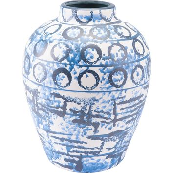 Blue & White Ree Vase, Medium