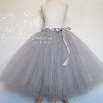 Gray Bridesmaid Gray Tulle Skirt Tea Length Adult  Grey tutu Long Teen Bridesmaid Skirt silver Ribbon Bow Wedding American Blossoms