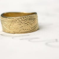 wide 14k yellow gold wedding band . bohemian paisley wedding band ring . solid 14 k gold wedding band ring by peaces of indigo