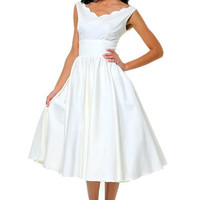 QUEEN OF HEARTZ 1950's Style Ivory Cotton Sateen Scallop Brenda Swing Dress - Unique Vintage - Cocktail, Evening  Pinup Dresses