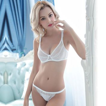 Ladies Bra Set Sexy Permeable Transparent Underwear [296077328425]