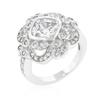 Elegant Clear Cubic Zirconia Crest Ring, size : 08