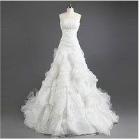 Organza A-line Wedding Dress White Strapless Bride Dress With Beading Lace-up Back Custom Wedding gown 2014