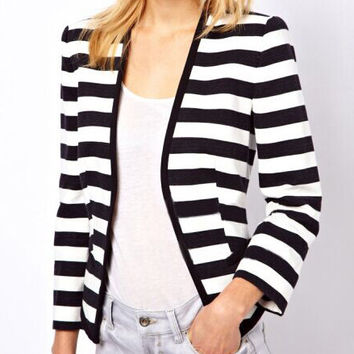 Striped Long Sleeve Blazer