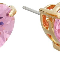 Betsey Johnson Gold and Cubic Zirconia Heart Stud Earrings