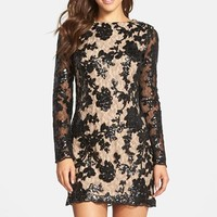 Women's Dress the Population 'Grace' Sequin Lace Long Sleeve Shift Dress,
