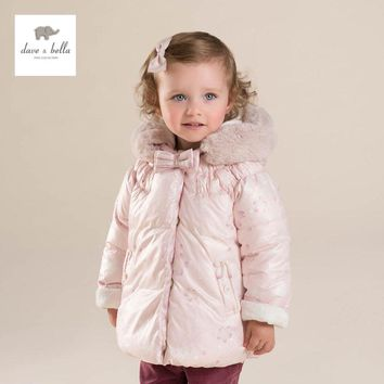 DB4271 davebella baby girls pink padded clothing  hooded padded coat  kids winter outerwear