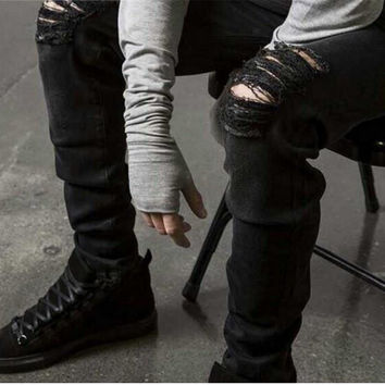 2016 Ripped Jeans Men Destroyed Denim Jeans With Holes Denim Skinny Slim flexible Jean Scratched Biker Jeans Elastic pants