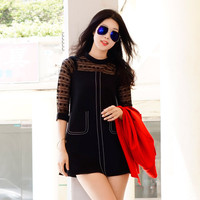 Black Lace Sleeve A-Line Mini Dress