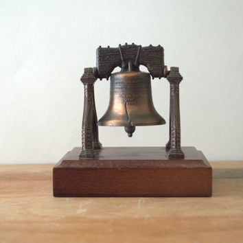 Collectible Penncraft Bronze Liberty Bell on Wood Base