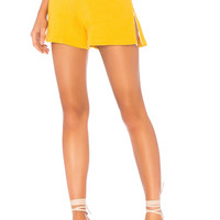 MONROW Side Zip Shorts in Amber