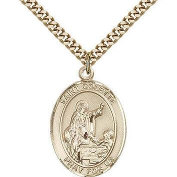 "Saint Colette Medal For Men - Gold Filled Necklace On 24"" Chain - 30 Day Mone... 617759186215"