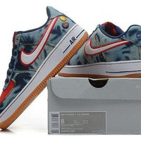 Nike Air Force 1 Denim Blue For Women Men Running Sport Casual Shoes Sneakers