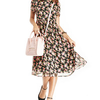 Floral Print Chiffon Short Sleeve High Waist A-Line Midi Dress