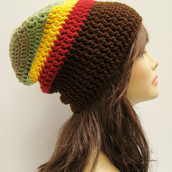 FREE SHIPPING - UNISEX Slouchy Crochet Beanie Hat - Reggae Rasta - Red, Yellow Gold, Light Sage Green, Brown, Beige Tan