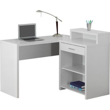 MONARCH - COMPUTER DESK - GREY CORNER WITH STORAGE - Walmart.com