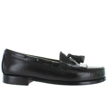 Bass Weejuns Layton   Black Leather Tassel Kilty Moc Loafer