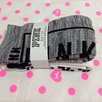 VICTORIA'S SECRET Pink knee high sock 2 pairs White / Marled Grey