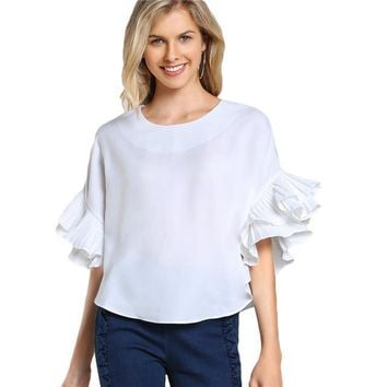 Top Women Blouses Summer Neck Half Sleeve Casual High Low Blouse