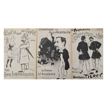 Pre-owned French Steinlen Song Sheets Circa 1900 - S/3