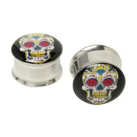 Steel Sugar Skull Eyelet Saddle Plug 2 Pack