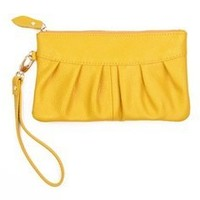 KLOUD City® Yellow PU leather women clutch handbag wallet