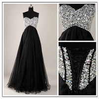 Corset prom dress , Long tulle beaded , black cocktail dress , evening ball gown , formal dress , Sweetheart Custom color , Plus size