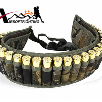 Tactical 600D 28 Round Shotgun Shell Bandolier Belt Holder Outdoor Airsoft Hunting Waist Cartridge Ammo Pouch with Zipper Pocket