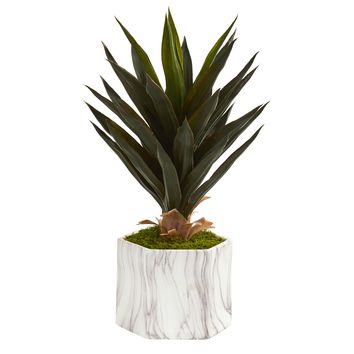 Artificial Plant -Agave Plant in Marble Finish Pot
