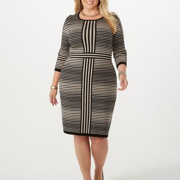 Plus Size Striped Sweater Dress