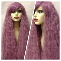 Wild Cherry, Dusky Pink Purple Crimped Fluffy Gothic Lolita Cosplay Wig