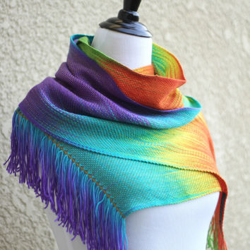 Woven rainbow scarf in red, green, yellow, turquoise and purple