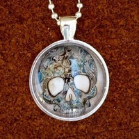 ODDITY Steampunk Freak SKULL goth pendant Necklace Sugar Skull Day of the Dead