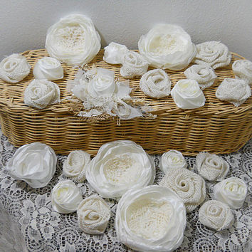 FREE Shipping! Bulk SALE Lot of 25 Burlap & Fabric Flowers, light ivory tones, diy weddings, mason jars, bouquet making. Ready to Ship!
