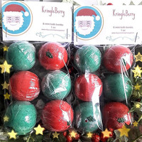 Kringleberry bath bombs, 1oz, bath bomb, christmas bath bomb, stocking stuffer, holiday gift, holiday bath bomb, party favors, wedding favor