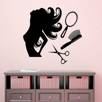 Beauty Salon Wall Decal Girl Vinyl Stickers Beauty Hair Salon Decor Scissors Art Mural Interior Design Living Room Decor Comb Decals KI66