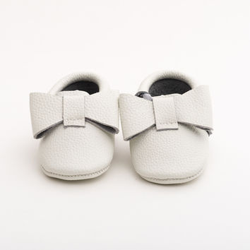 Ribbon Baby Leather Moccasins White Canary