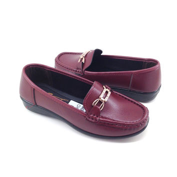 Burgundy Vegan Leather Loafers