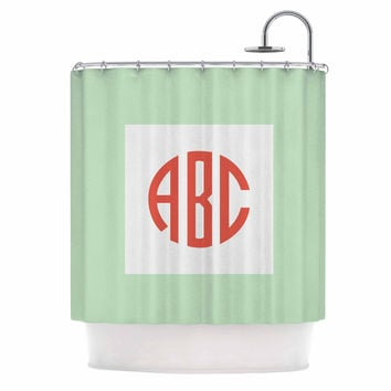 "Kess Original ""Classic Monogram Green "" Green Monogram Shower Curtain"