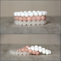 Set of 3 bracelet Pastel bracelet Apricot salmon white stackable bracelets Jade bead Tender bracelet Women bracelet Gift for wife Girlfriend