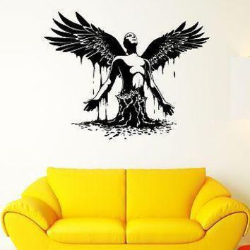 Wall Decal Man Angel Wings Revival Art Water Takeoff Vinyl Stickers Unique Gift (ed139)