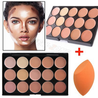 Pro 15 Color Cream Makeup Face Contour Kit Highlight Concealer Palette Bronzer with Gift Blender Sponge Beauty Cosmetic Set